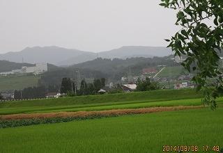 雨に煙る牛岳