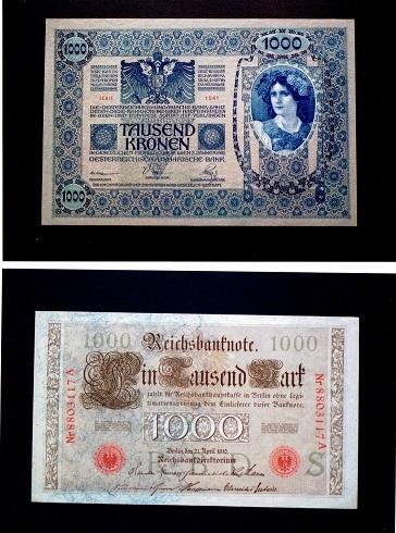オーストリア1000クローネン 1902年 ・ ドイツ1000マルク紙幣1910年