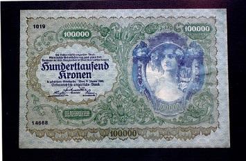 オーストリア 10万クローネン紙幣 1922年