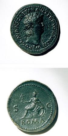 セステルティウス青銅貨 ネロ帝・裏面に描かれたローマの女神