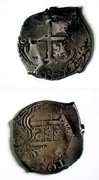 ボリビア 8レアル銀貨{レオンとカスティーリヤの組み合わせ紋章}・右側のTOはPOTOSIの中央部分