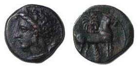 カルタゴ 青銅貨 冥府の女神タニット、それに馬と椰子の木
