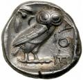 テトラドラクマ裏 知恵の象徴フクロウ