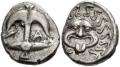 ゴルゴンが描かれたドラクマ銀貨