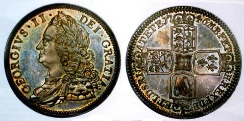 イギリスクラウン銀貨1746年 極めて珍しいプルーフ貨