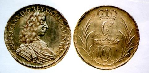 デンマーク貿易銀 1671年 クリスティアン5世