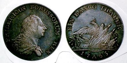 プロイセン バンコターレル銀貨 1765年 フリードリヒ2世