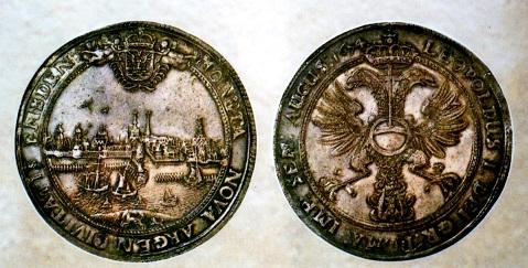 エムデンターレル銀貨 1674年 市の景観