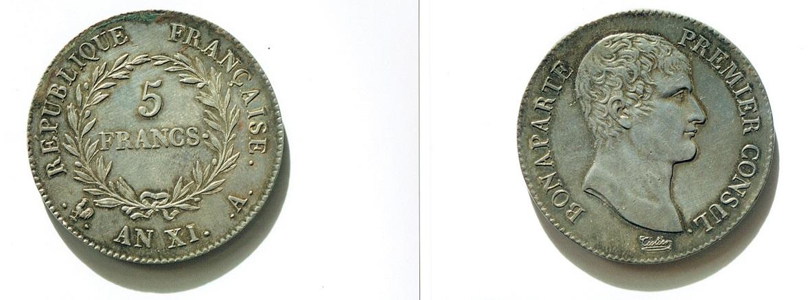 フランス 5フラン銀貨 AN XI (1803年) ボナパルト第一執政