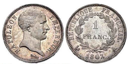 1807年 1フラン ネグロヘッド