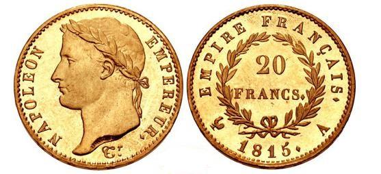 20フラン金貨 ナポレオン100日天下 PF65
