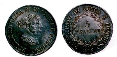 ルッカ 5フランキ銀貨 1805年 エリーズ&フェリチェ・バッチオッキ