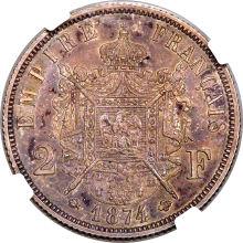 ナポレオン4世 2フラン銀貨 1874年 裏