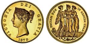 英国クラウン銀貨の金製試作貨 1879年 ヴィクトリア スリーグレーセス