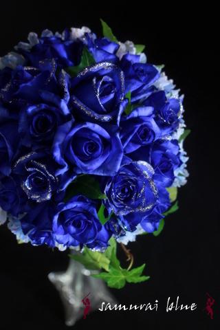 青い薔薇 ラウンドブーケ