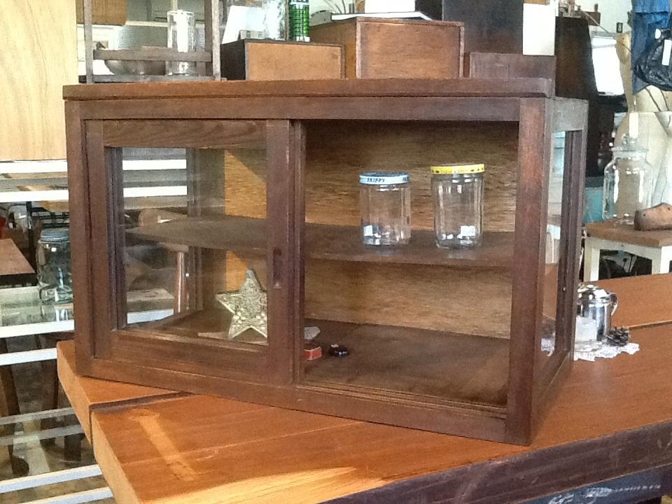 木製 ガラスケース 古民家 レトロ 卓上 什器 ディスプレイ