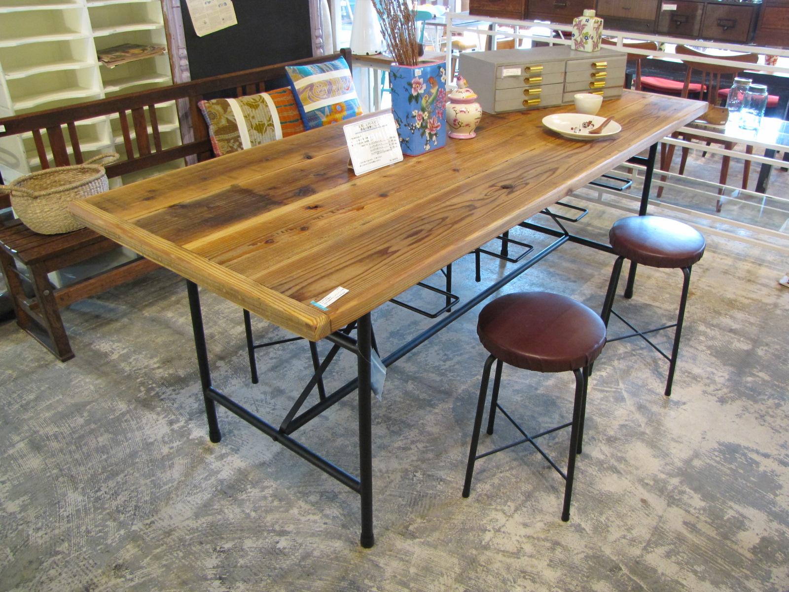 リ・デザイン スツール付き古材天板のダイニングテーブル