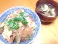 ヒレカツ丼と茄子のお味噌汁 20140312