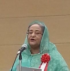 早稲田大学で講演したバングラデシュのシェイク・ハシナ首相=2014年5月27日午前11時11分、清水憲司撮影
