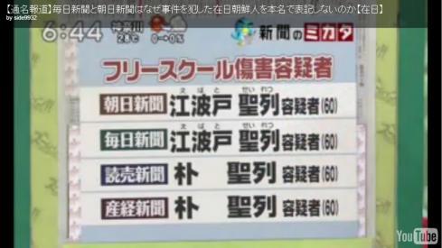 朴聖烈 江波戸聖烈【通名報道】毎日新聞と朝日新聞はなぜ事件を犯した在日朝鮮人を本名で表記しないのか【在日】