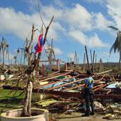 サマール島のバナハオ小学校。強風による被害で跡形もない校舎
