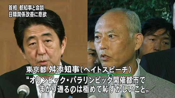 安倍総理大臣は「われわれが汚い批判を受けようと、きちんと礼儀正しい態度でやってきた。ヘイトスピーチは日本の誇りを傷つけるものだ。どう対応するかは党として検討させる」と述べ、規制を検討