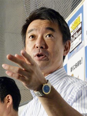 日本維新の会の橋下徹代表も朝日を厳しく批判した(安元雄太撮影)