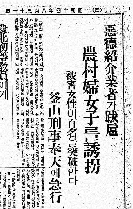 東亜日報(1939.8.31)悪徳紹介業者の横暴 誘拐した農村女子の数は100人以上全員、日本の警察が救出