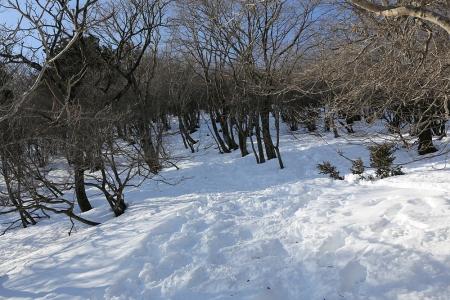8合目からは雪の急登