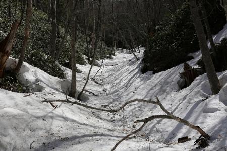 皇海山登山道は沢を詰める