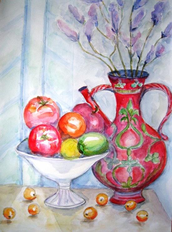 赤い壺とフルーツ