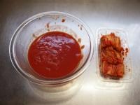 トマトとキムチの冷製パスタ28