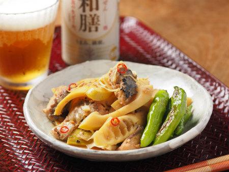 淡竹と鯖缶の煮物10