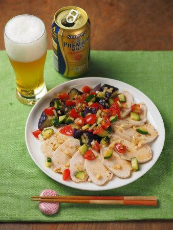 蒸し鶏と茄子の彩り夏野菜添10
