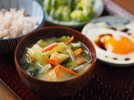 小松菜味噌汁雑穀ご飯07