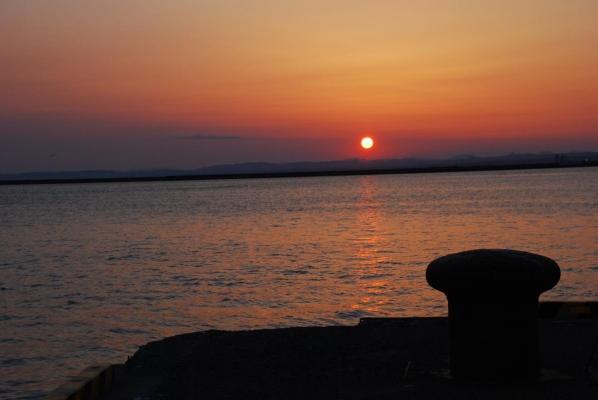 釧路 港の夕日