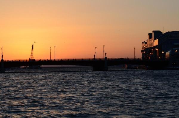 幣舞橋付近からの夕日