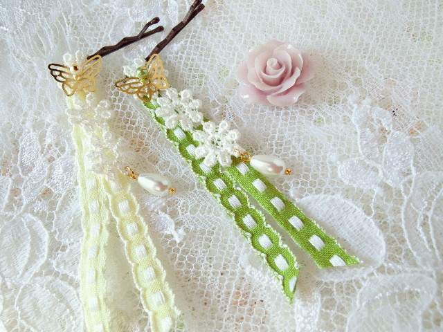 ドール用蝶とお花レースのヘアピン新色