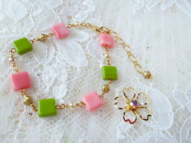 桜餅色のブレスレット1