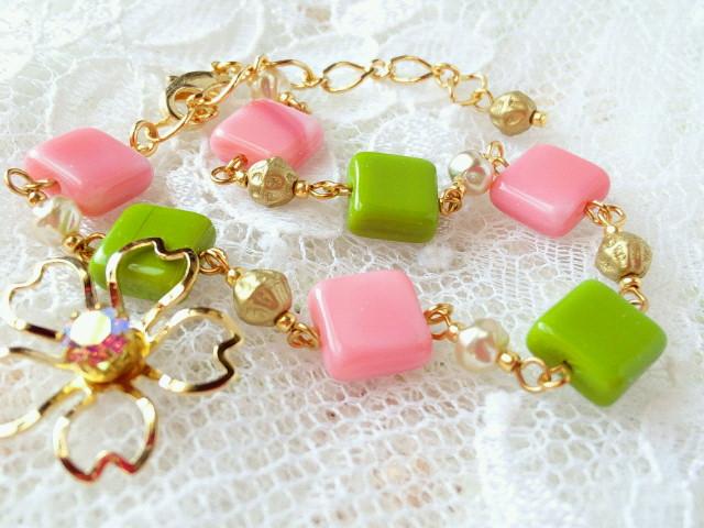 桜餅色のブレスレット2