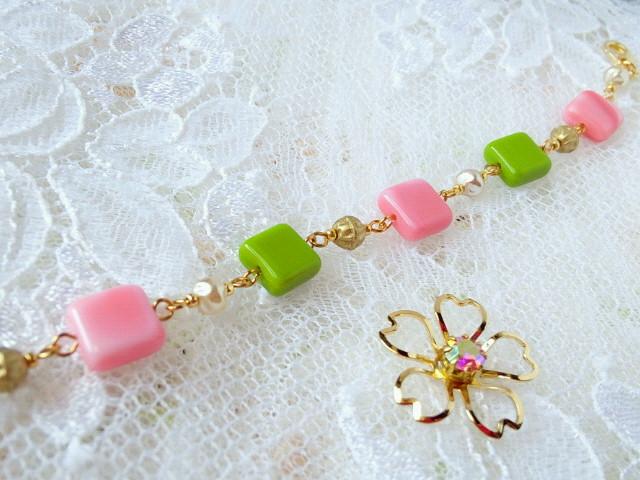 桜餅色のブレスレット3