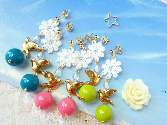 お花と小鳥の玉遊びピアス2