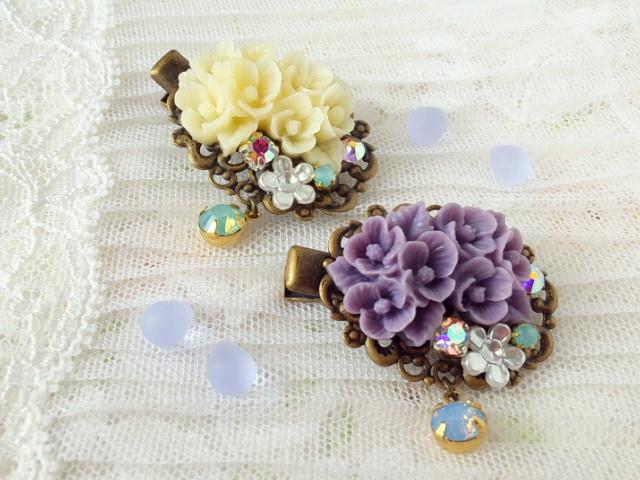 ドール用紫陽花ブーケカボションとクリスタライズのヘアクリップ1