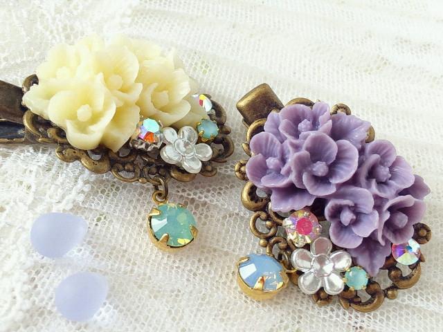 ドール用紫陽花ブーケカボションとクリスタライズのヘアクリップ2