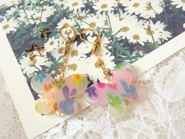 花柄蝶のピアス1