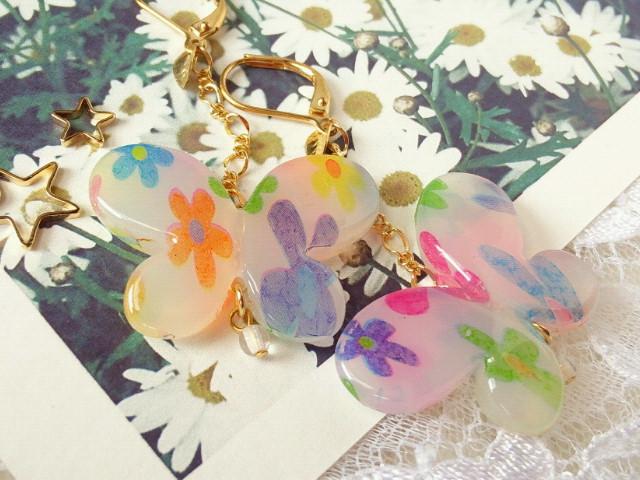 花柄蝶のピアス2