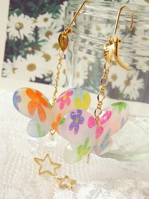 花柄蝶のピアス3