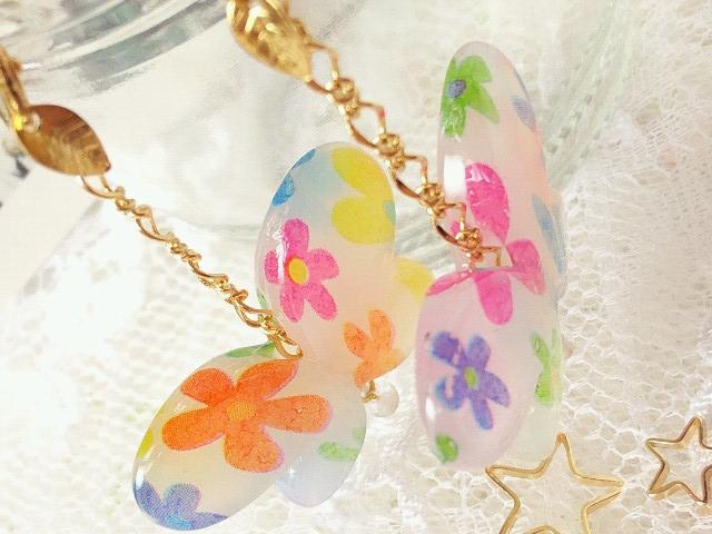 花柄蝶のピアス4