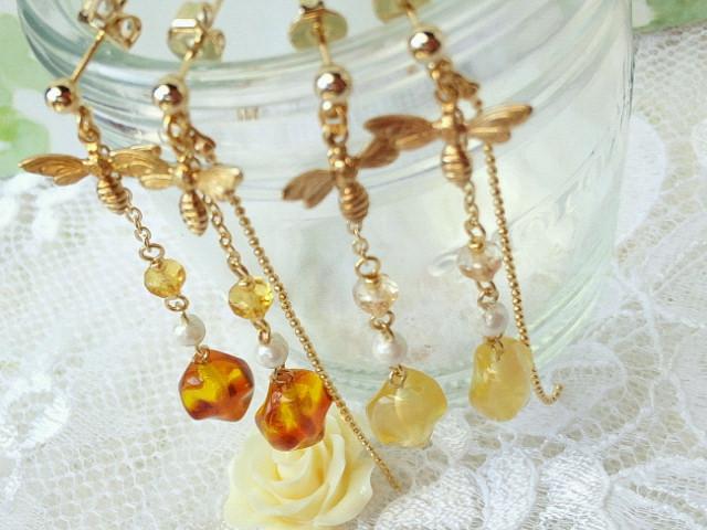 蜜蜂とブレンドハチミツのピアス5
