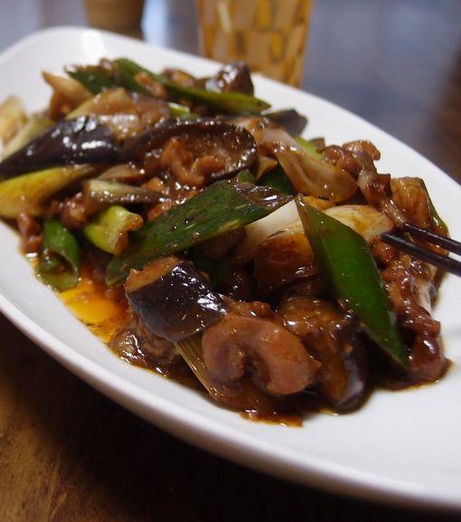 ナスと長ネギの甜麺醤炒め